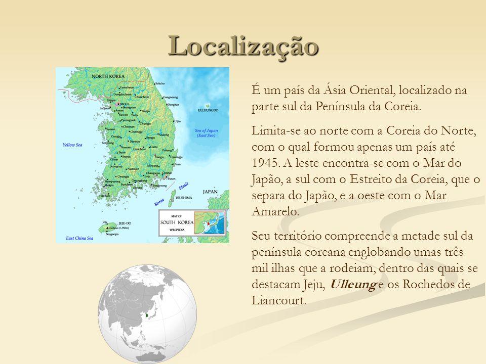Localização É um país da Ásia Oriental, localizado na parte sul da Península da Coreia. Limita-se ao norte com a Coreia do Norte, com o qual formou ap