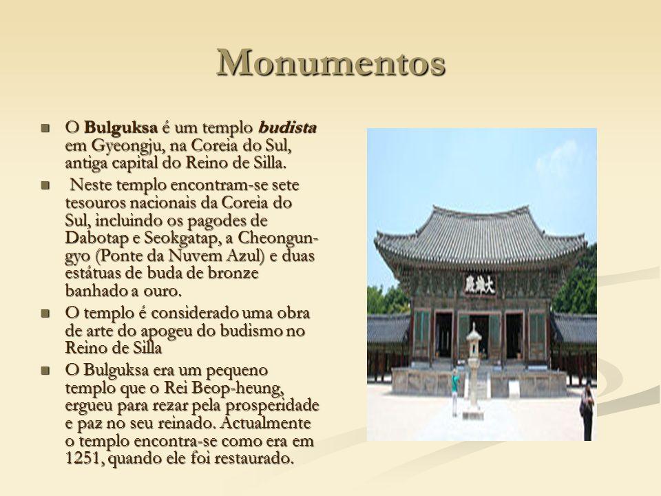Monumentos O Bulguksa é um templo budista em Gyeongju, na Coreia do Sul, antiga capital do Reino de Silla. O Bulguksa é um templo budista em Gyeongju,