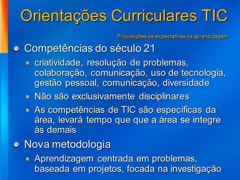 Orientações Curriculares TIC Proposições de expectativas de aprendizagem Competências do século 21 criatividade, resolução de problemas, colaboração,