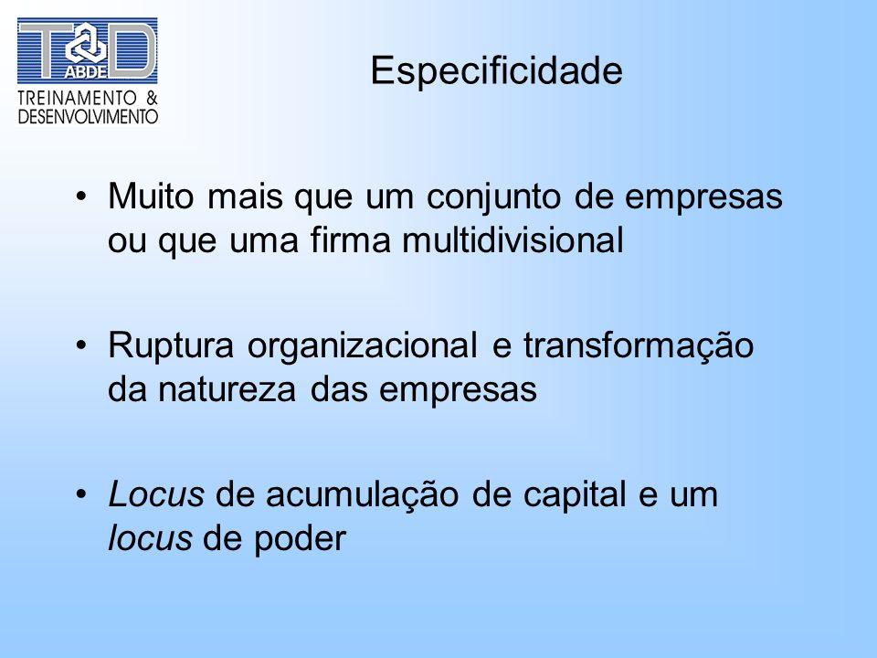 Especificidade Muito mais que um conjunto de empresas ou que uma firma multidivisional Ruptura organizacional e transformação da natureza das empresas