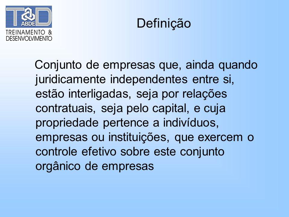 Definição Conjunto de empresas que, ainda quando juridicamente independentes entre si, estão interligadas, seja por relações contratuais, seja pelo ca