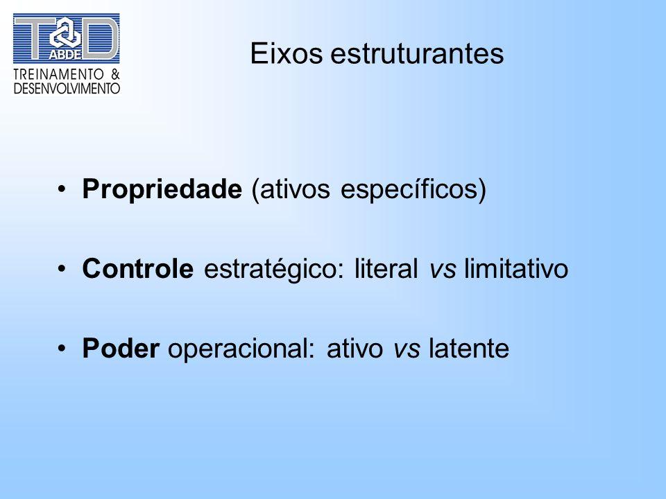 Eixos estruturantes Propriedade (ativos específicos) Controle estratégico: literal vs limitativo Poder operacional: ativo vs latente