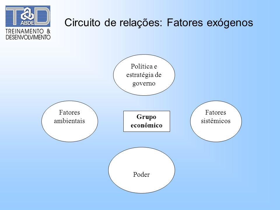Circuito de relações: Fatores exógenos Política e estratégia de governo Fatores ambientais Fatores sistêmicos Poder Grupo econômico