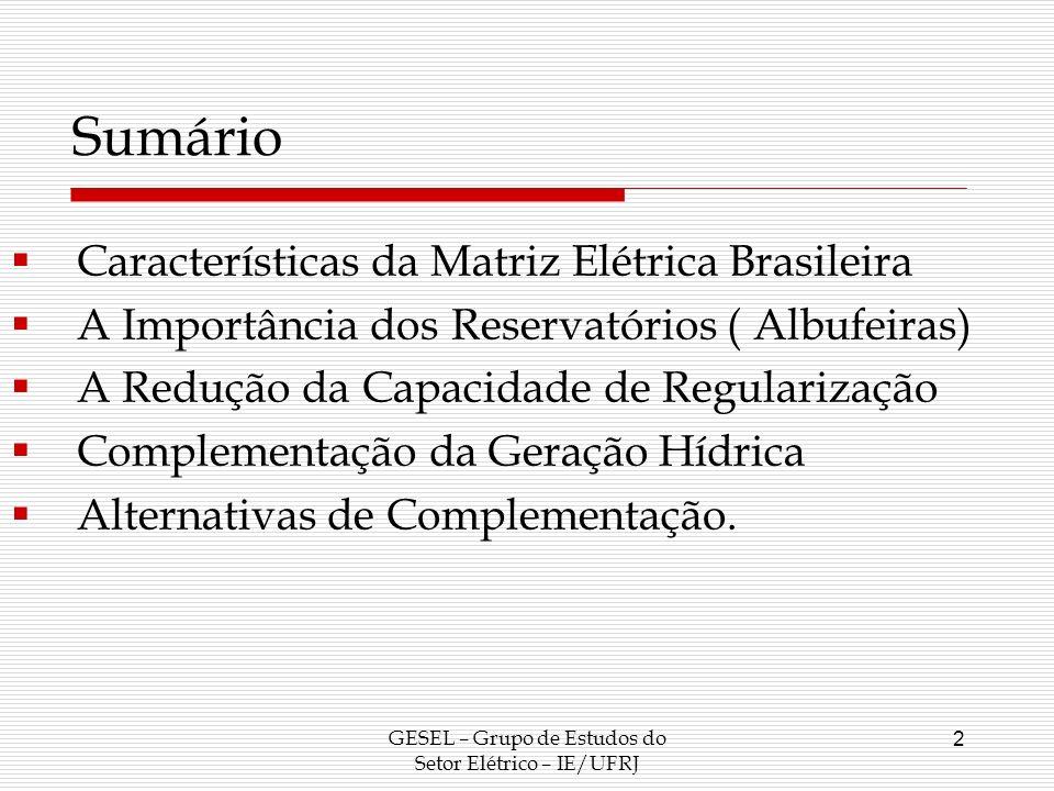 GESEL – Grupo de Estudos do Setor Elétrico – IE/UFRJ 2 Sumário Características da Matriz Elétrica Brasileira A Importância dos Reservatórios ( Albufei