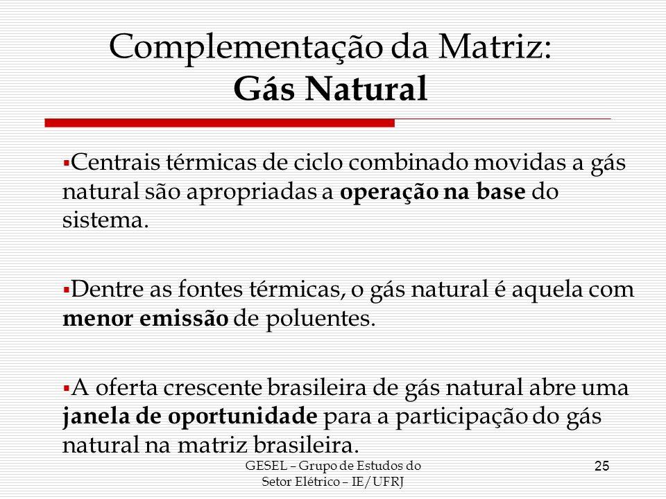 GESEL – Grupo de Estudos do Setor Elétrico – IE/UFRJ 25 Centrais térmicas de ciclo combinado movidas a gás natural são apropriadas a operação na base