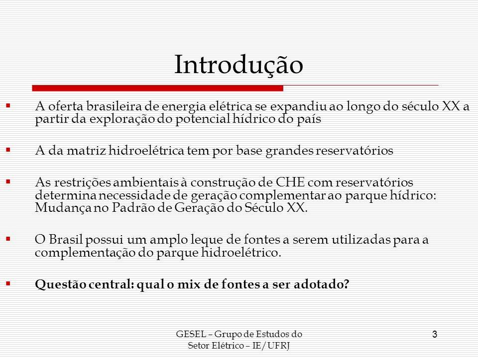Introdução A oferta brasileira de energia elétrica se expandiu ao longo do século XX a partir da exploração do potencial hídrico do país A da matriz h