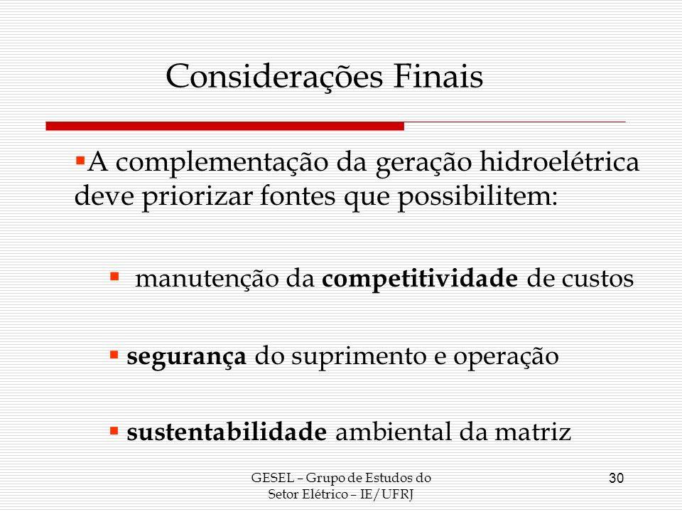 GESEL – Grupo de Estudos do Setor Elétrico – IE/UFRJ 30 Considerações Finais A complementação da geração hidroelétrica deve priorizar fontes que possi
