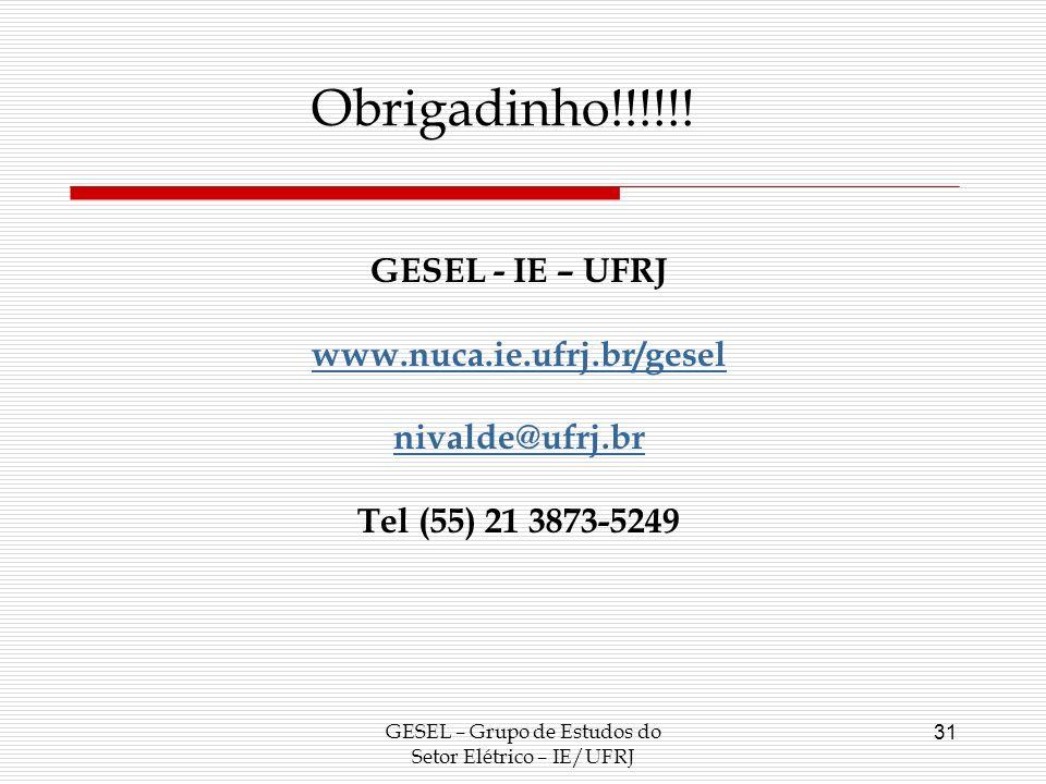 GESEL – Grupo de Estudos do Setor Elétrico – IE/UFRJ 31 Obrigadinho!!!!!! GESEL - IE – UFRJ www.nuca.ie.ufrj.br/gesel nivalde@ufrj.br Tel (55) 21 3873