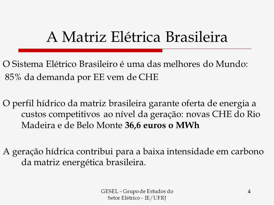 A Matriz Elétrica Brasileira GESEL – Grupo de Estudos do Setor Elétrico – IE/UFRJ 5 Participação da Geração Hidroelétrica na Oferta Brasileira de Energia Elétrica Anos (% da geração total) 200592,45 200691,81 200792,78 200884,10 200988,50 Fonte: Histórico da Geração do Site do ONS e MELO (2010).