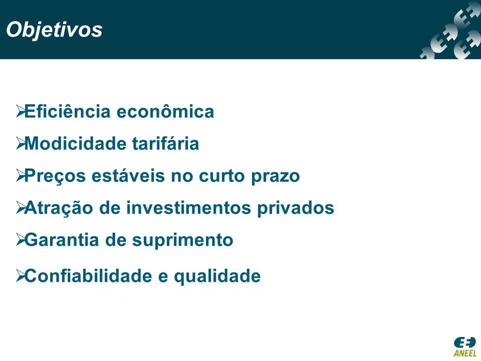 Objetivos Garantia de suprimento Modicidade tarifária Preços estáveis no curto prazo Confiabilidade e qualidade Eficiência econômica Atração de invest
