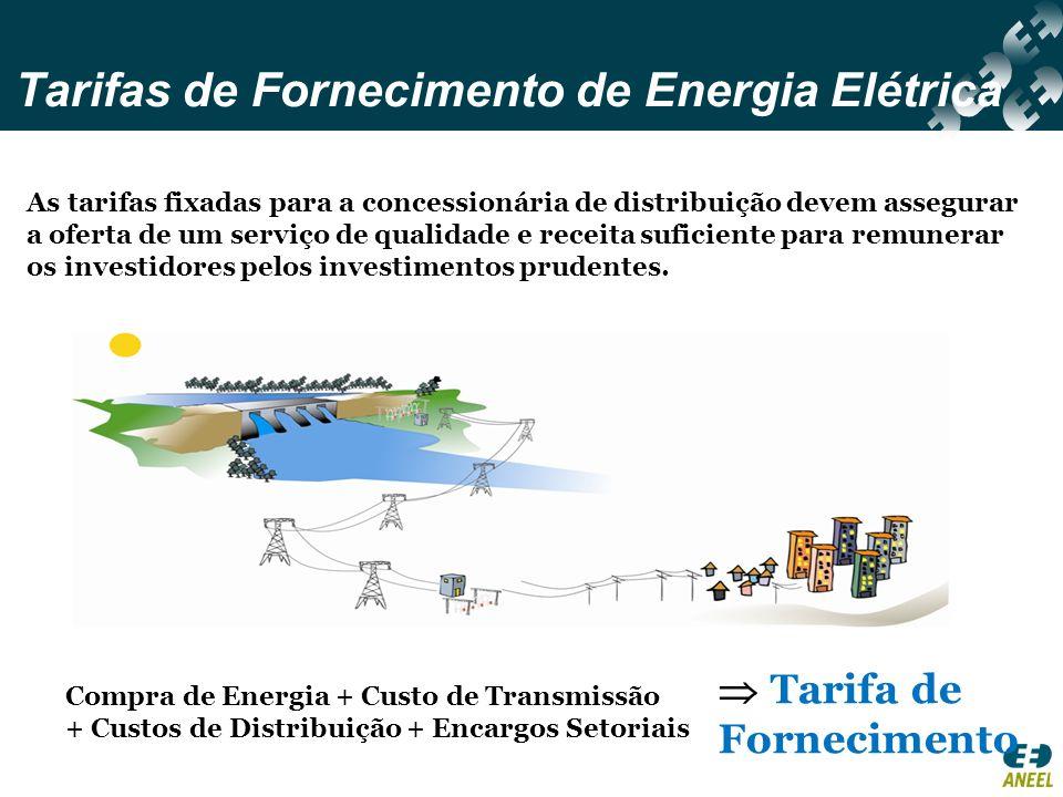 Tarifas de Fornecimento de Energia Elétrica As tarifas fixadas para a concessionária de distribuição devem assegurar a oferta de um serviço de qualida