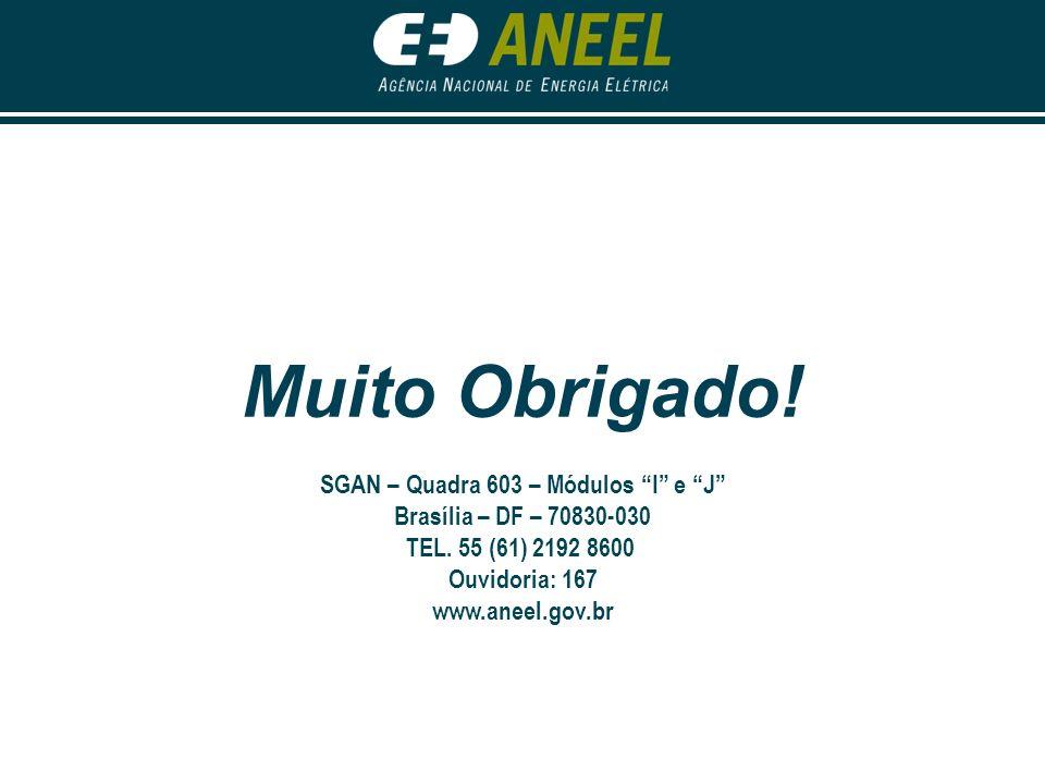 Muito Obrigado! SGAN – Quadra 603 – Módulos I e J Brasília – DF – 70830-030 TEL. 55 (61) 2192 8600 Ouvidoria: 167 www.aneel.gov.br