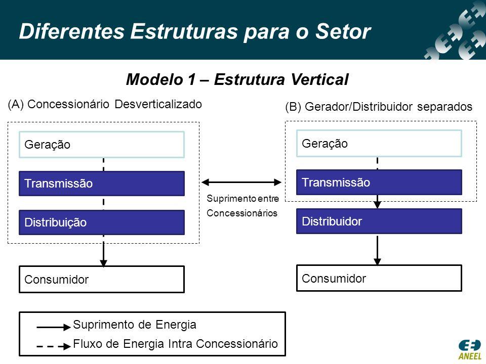 Diferentes Estruturas para o Setor (A) Variante Desagregada (B) Variante Integrada Modelo 2 – Comprador Único PIE COMPRADOR ÚNICO DISCO Consumidor Suprimento de Energia Fluxo de Energia Intra Concessionário PIE DISCO Consumidor PIE COMPRADOR ÚNICO Geração PrópriaPIE DISTRIBUIÇÃO Consumidor
