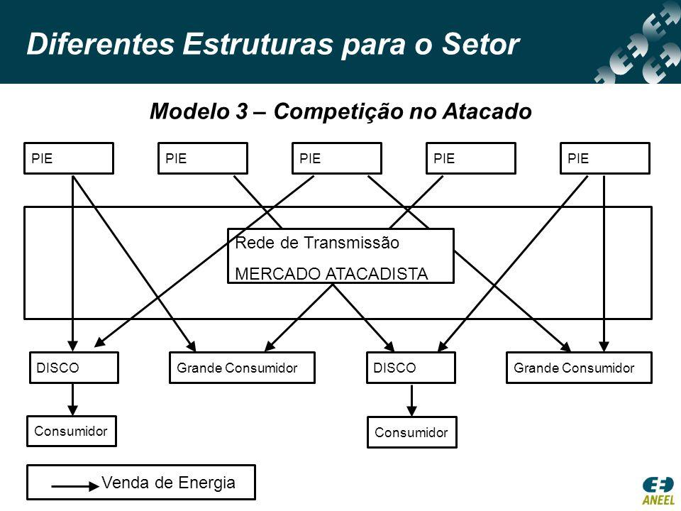 Diferentes Estruturas para o Setor Modelo 4 – Competição no Varejo Consumidor Venda de EnergiaVenda Direta Consumidor PIE Consumidor Comercializador DISCO/ Comercializador DISCO/ Comercializador Rede de Transmissão MERCADO ATACADISTA Rede de Distribuição MERCADO VAREJISTA