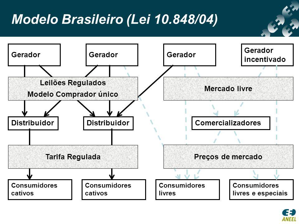 Modelo Brasileiro (Lei 10.848/04) Ambiente de Contratação Regulada (ACR) competição pelo mercado Ambiente de Contratação Livre (ACL) competição no mercado Contratação de Longo Prazo – 100%