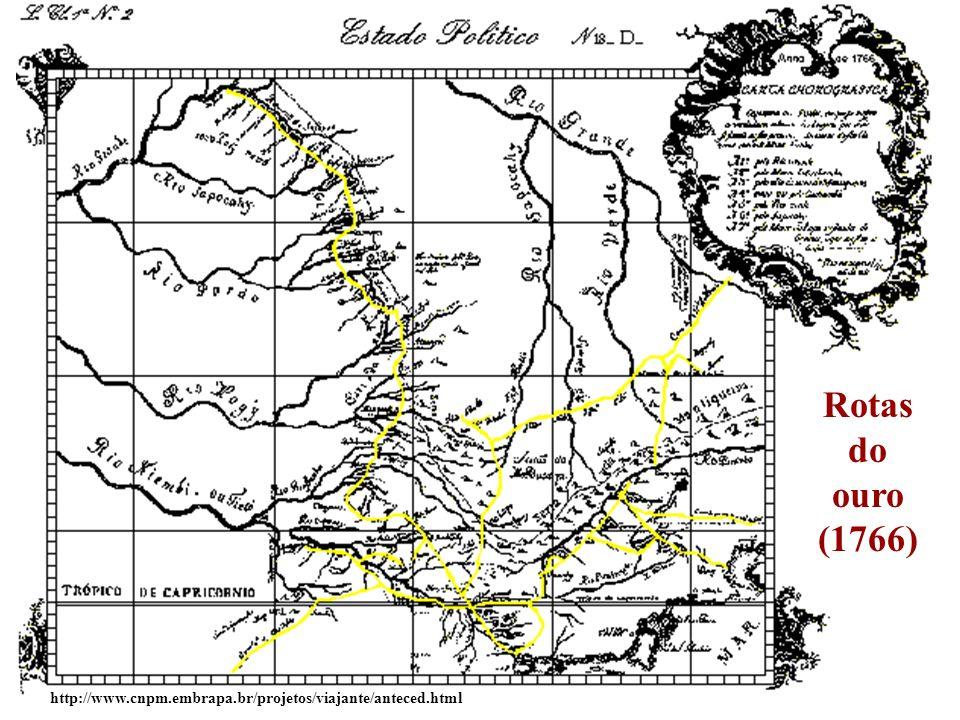 Fluxos de comércio relacionados à mineração no século XVIII http://www.exklepsidra.net/klepsidra4