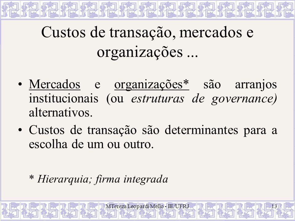 MTereza Leopardi Mello - IE/UFRJ13 Custos de transação, mercados e organizações... Mercados e organizações* são arranjos institucionais (ou estruturas