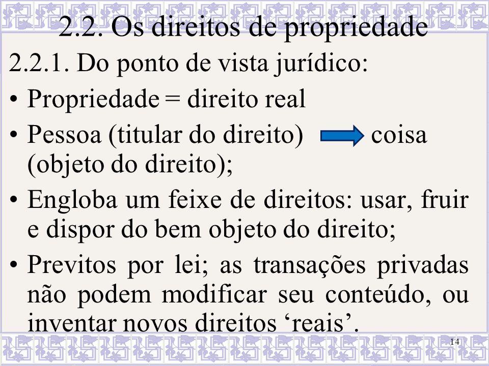 14 2.2. Os direitos de propriedade 2.2.1. Do ponto de vista jurídico: Propriedade = direito real Pessoa (titular do direito) coisa (objeto do direito)