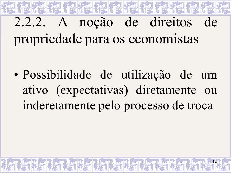 2.2.2. A noção de direitos de propriedade para os economistas Possibilidade de utilização de um ativo (expectativas) diretamente ou inderetamente pelo