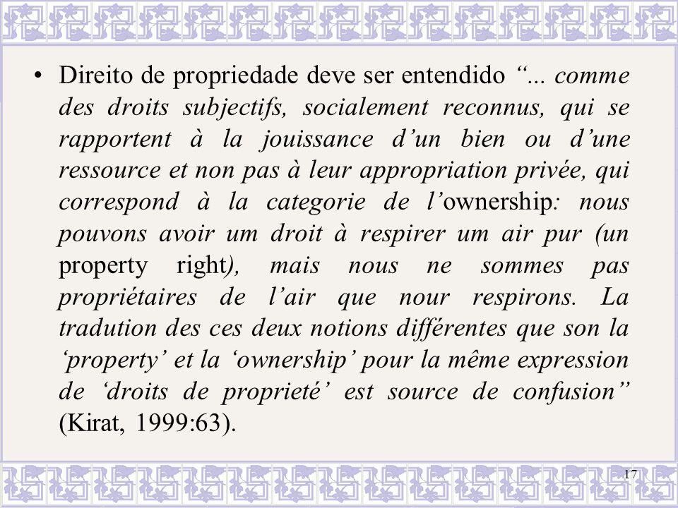 Direito de propriedade deve ser entendido... comme des droits subjectifs, socialement reconnus, qui se rapportent à la jouissance dun bien ou dune res