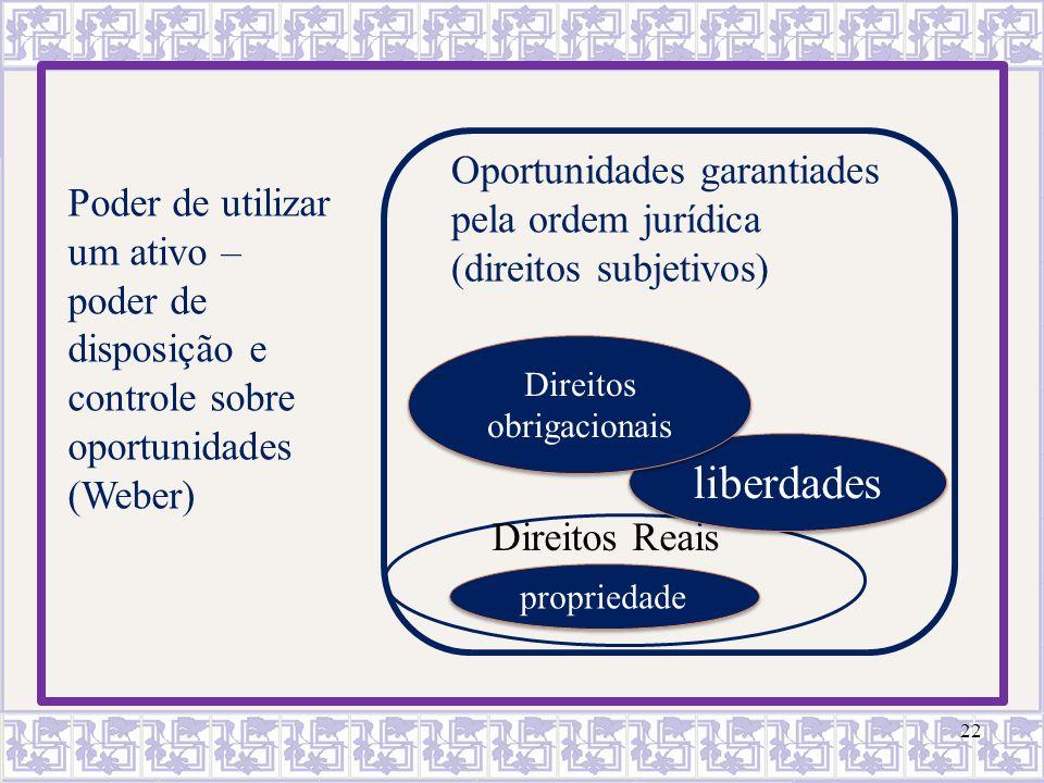 22 Poder de utilizar um ativo – poder de disposição e controle sobre oportunidades (Weber) Oportunidades garantiades pela ordem jurídica (direitos sub
