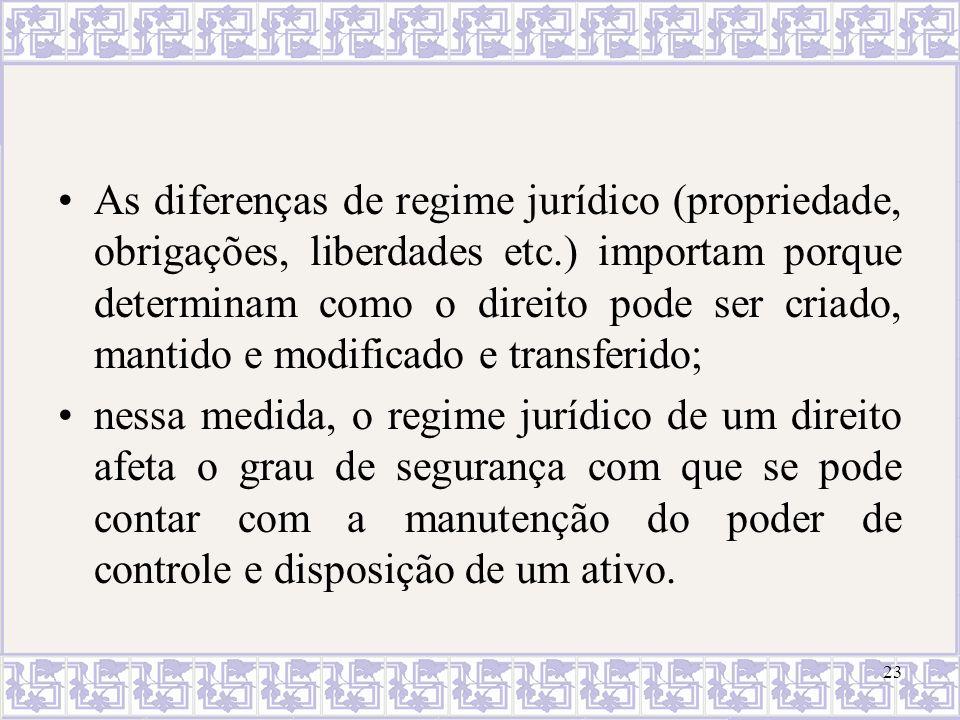 As diferenças de regime jurídico (propriedade, obrigações, liberdades etc.) importam porque determinam como o direito pode ser criado, mantido e modif