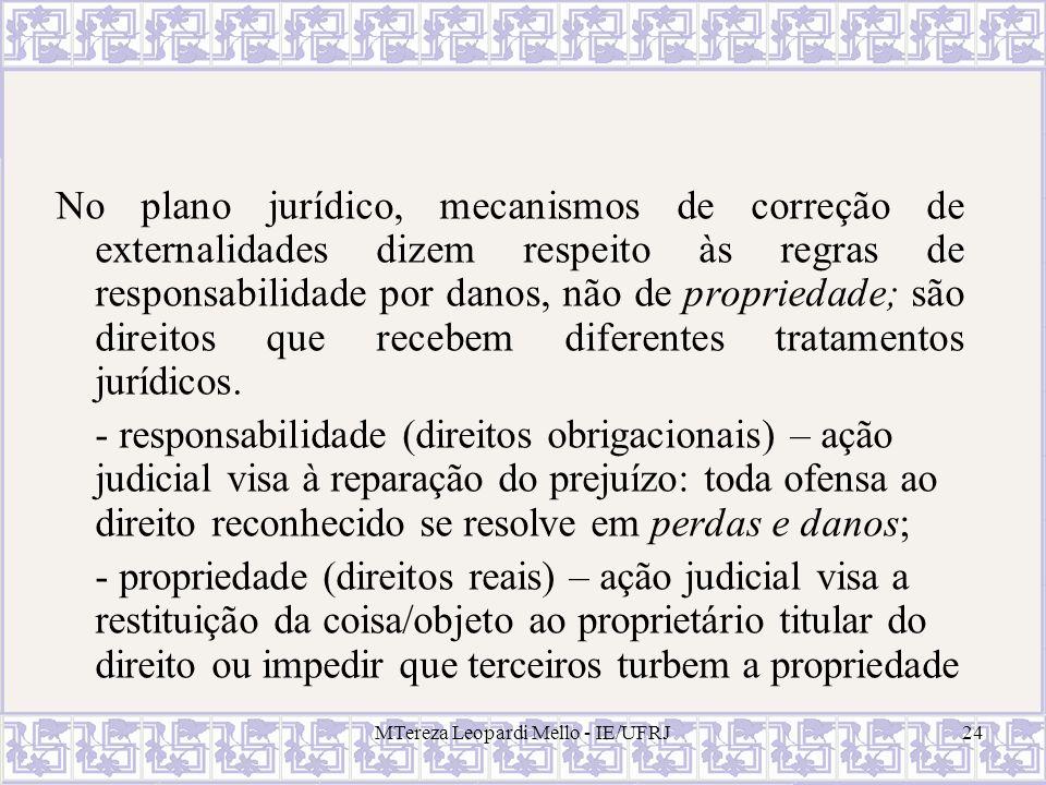 MTereza Leopardi Mello - IE/UFRJ24 No plano jurídico, mecanismos de correção de externalidades dizem respeito às regras de responsabilidade por danos,