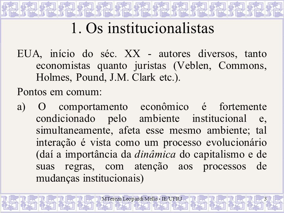 MTereza Leopardi Mello - IE/UFRJ34 O Teorema e os direitos de propriedade Para os formuladores do teorema de Coase, apenas pelo mercado - i.e., por acordos interindividuais – a definição de direitos se opera de modo eficiente: são os agentes individuais que procedem à definição dos direitos, à atribuição destes e às respectivas trocas.
