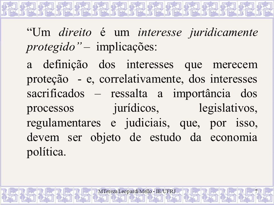 Direitos econômicos X direitos jurídicos The term property rights carries two distinct meanings in the economic literature.
