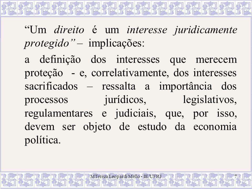 MTereza Leopardi Mello - IE/UFRJ8 O direito como categoria realista (Commons, Clark, Holmes,...) conceitos jurídicos não têm um sentido pré- estabelecido (lógico-abstrato); esse sentido varia conforme o contexto e a finalidade.