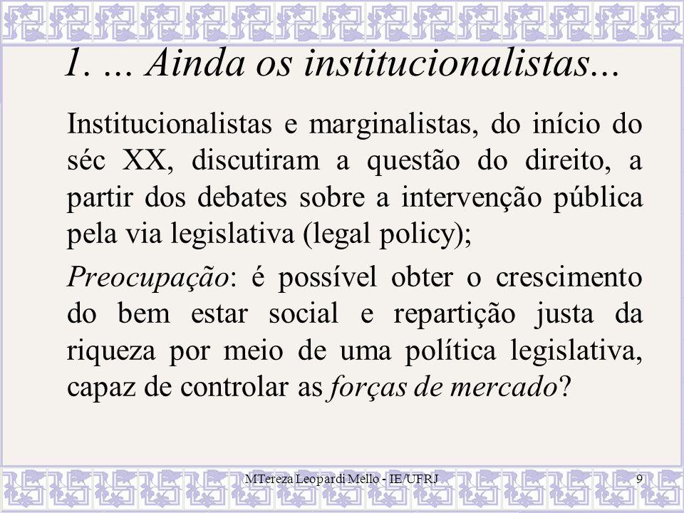 MTereza Leopardi Mello - IE/UFRJ30 Hipótese de CTs = 0 Tinha a finalidade de apresentar um quadro de análise simplificado e deixar claro o papel fundamental dos custos de transação na criação de instituições que permeiam o sistema econômico (Coase, 1988:13).