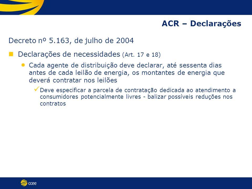 ACR – Declarações Decreto nº 5.163, de julho de 2004 Declarações de necessidades (Art. 17 e 18) Cada agente de distribuição deve declarar, até sessent