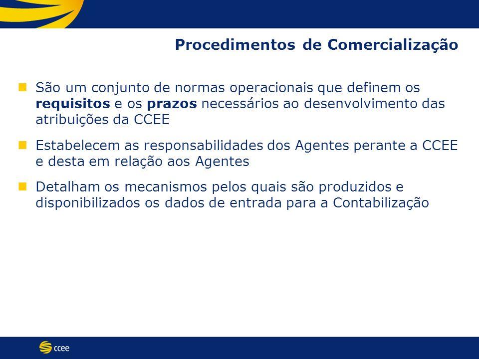 Procedimentos de Comercialização São um conjunto de normas operacionais que definem os requisitos e os prazos necessários ao desenvolvimento das atrib