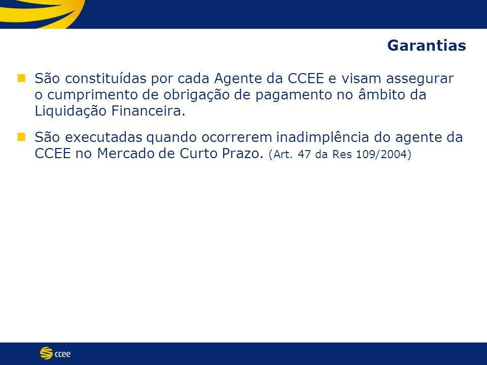 São constituídas por cada Agente da CCEE e visam assegurar o cumprimento de obrigação de pagamento no âmbito da Liquidação Financeira. São executadas