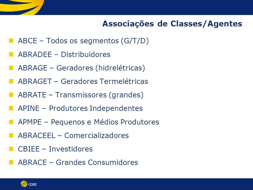Associações de Classes/Agentes ABCE – Todos os segmentos (G/T/D) ABRADEE – Distribuidores ABRAGE – Geradores (hidrelétricas) ABRAGET – Geradores Terme