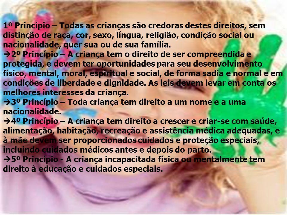 1º Princípio – Todas as crianças são credoras destes direitos, sem distinção de raça, cor, sexo, língua, religião, condição social ou nacionalidade, q