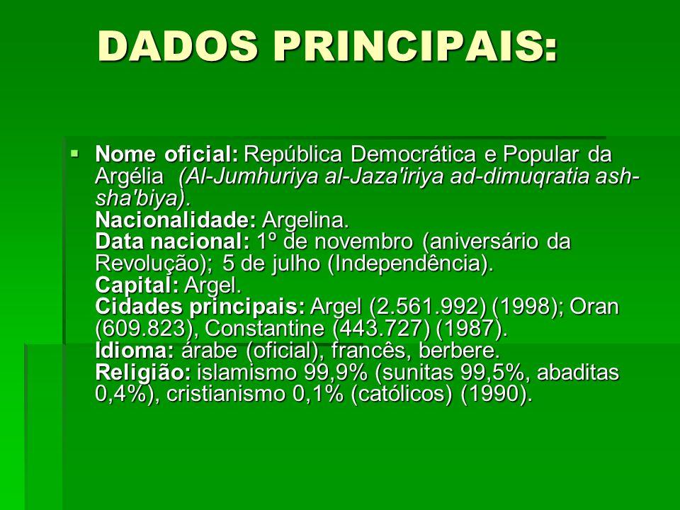 DADOS PRINCIPAIS: DADOS PRINCIPAIS: Nome oficial: República Democrática e Popular da Argélia (Al-Jumhuriya al-Jaza'iriya ad-dimuqratia ash- sha'biya).