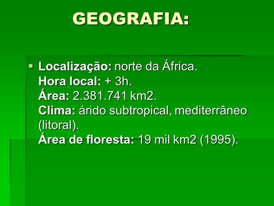 GEOGRAFIA: GEOGRAFIA: Localização: norte da África. Hora local: + 3h. Área: 2.381.741 km2. Clima: árido subtropical, mediterrâneo (litoral). Área de f