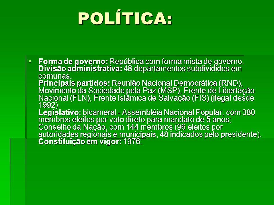 POLÍTICA: POLÍTICA: Forma de governo: República com forma mista de governo. Divisão administrativa: 48 departamentos subdivididos em comunas. Principa