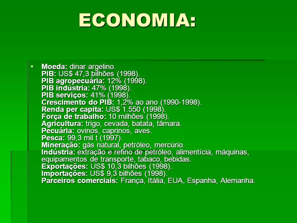 ECONOMIA: ECONOMIA: Moeda: dinar argelino. PIB: US$ 47,3 bilhões (1998). PIB agropecuária: 12% (1998). PIB indústria: 47% (1998). PIB serviços: 41% (1