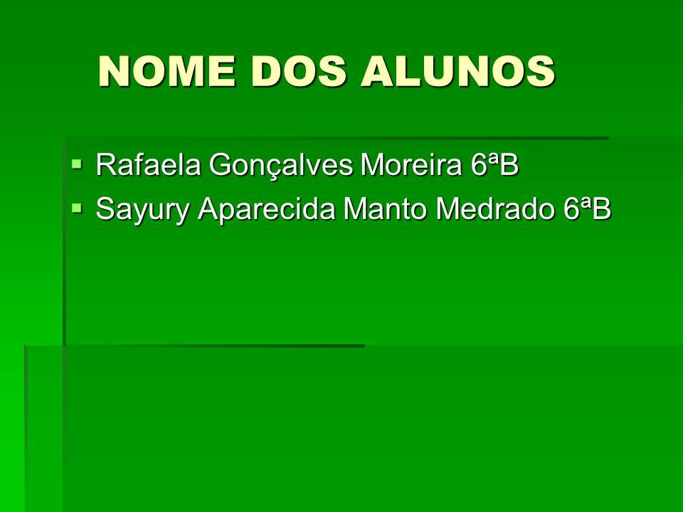 NOME DOS ALUNOS NOME DOS ALUNOS Rafaela Gonçalves Moreira 6ªB Rafaela Gonçalves Moreira 6ªB Sayury Aparecida Manto Medrado 6ªB Sayury Aparecida Manto