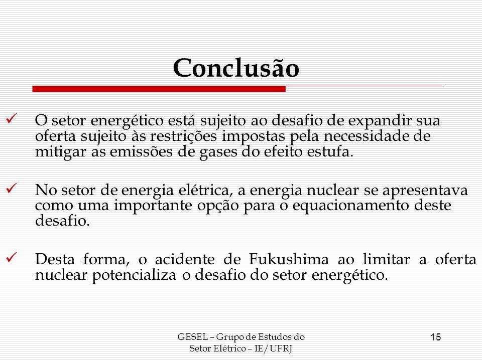 GESEL – Grupo de Estudos do Setor Elétrico – IE/UFRJ 15 Conclusão O setor energético está sujeito ao desafio de expandir sua oferta sujeito às restriç