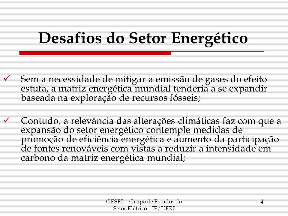 O Setor Elétrico Mundial GESEL – Grupo de Estudos do Setor Elétrico – IE/UFRJ 5 Por se tratar da forma mais nobre de energia, a demanda por energia elétrica irá crescer a uma taxa maior que a taxa de crescimento da demanda por energia.
