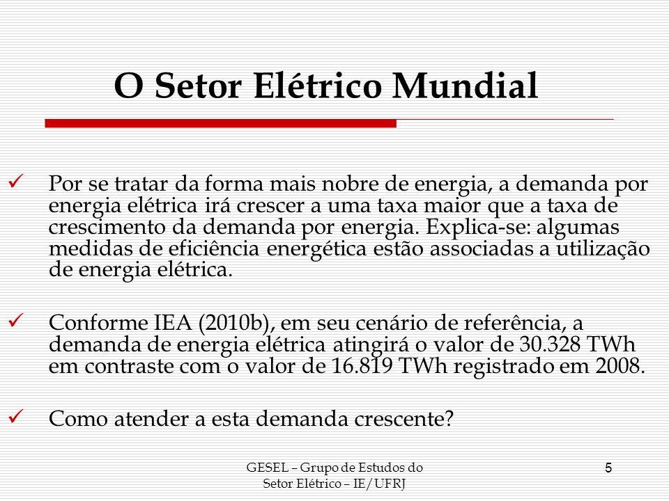 O Setor Elétrico Mundial GESEL – Grupo de Estudos do Setor Elétrico – IE/UFRJ 6 Matriz Elétrica Mundial em 2008 Fonte: IEA (2010a).
