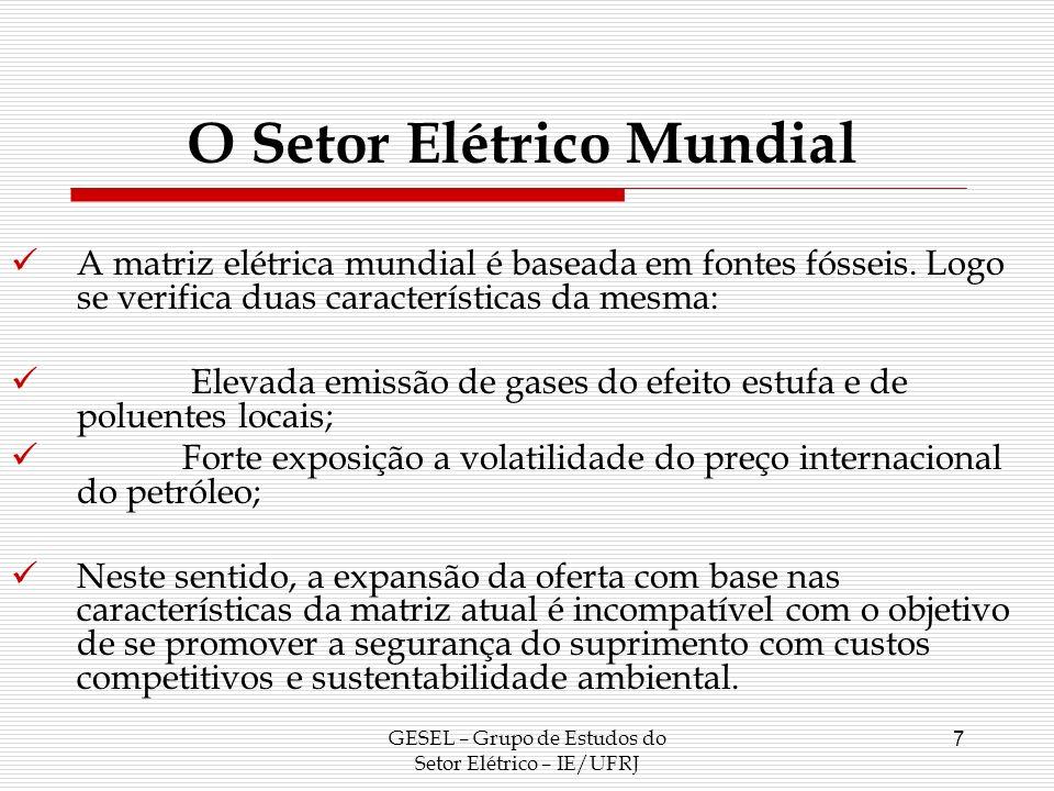 O Setor Elétrico Mundial GESEL – Grupo de Estudos do Setor Elétrico – IE/UFRJ 7 A matriz elétrica mundial é baseada em fontes fósseis. Logo se verific