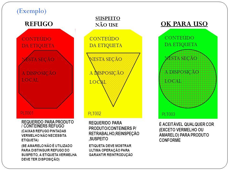 CONTEÚDO DA ETIQUETA NESTA SEÇÃO A DISPOSIÇÃO LOCAL CONTEÚDO DA ETIQUETA NESTA SEÇÃO A DISPOSIÇÃO LOCAL PLT001 SUSPEITO NÃO USE OK PARA USO REQUERIDO PARA PRODUTO / CONTEINERS REFUGO (CAIXAS REFUGO PINTADAS VERMELHO NÃO NECESSITA ETIQUETA) REQUERIDO PARA PRODUTO/CONTEINERS P/ RETRABALHO,REINSPEÇÃO,SUSPEITO É ACEITÁVEL QUALQUER COR (EXCETO VERMELHO OU AMARELO) PARA PRODUTO CONFORME REFUGO PLT002 PLT003 CONTEÚDO DA ETIQUETA NESTA SEÇÃO A DISPOSIÇÃO LOCAL (SE AMARELO NÃO É UTILIZADO PARA DISTINGUIR REFUGO DO SUSPEITO, A ETIQUETA VERMELHA DEVE TER DISPOSIÇÃO) ETIQUETA DEVE MOSTRAR ULTIMA OPERAÇÃO PARA GARANTIR REINTRODUÇÃO (Exemplo)