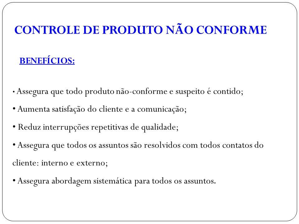CONTROLE DE PRODUTO NÃO CONFORME BENEFÍCIOS: Assegura que todo produto não-conforme e suspeito é contido; Aumenta satisfação do cliente e a comunicaçã