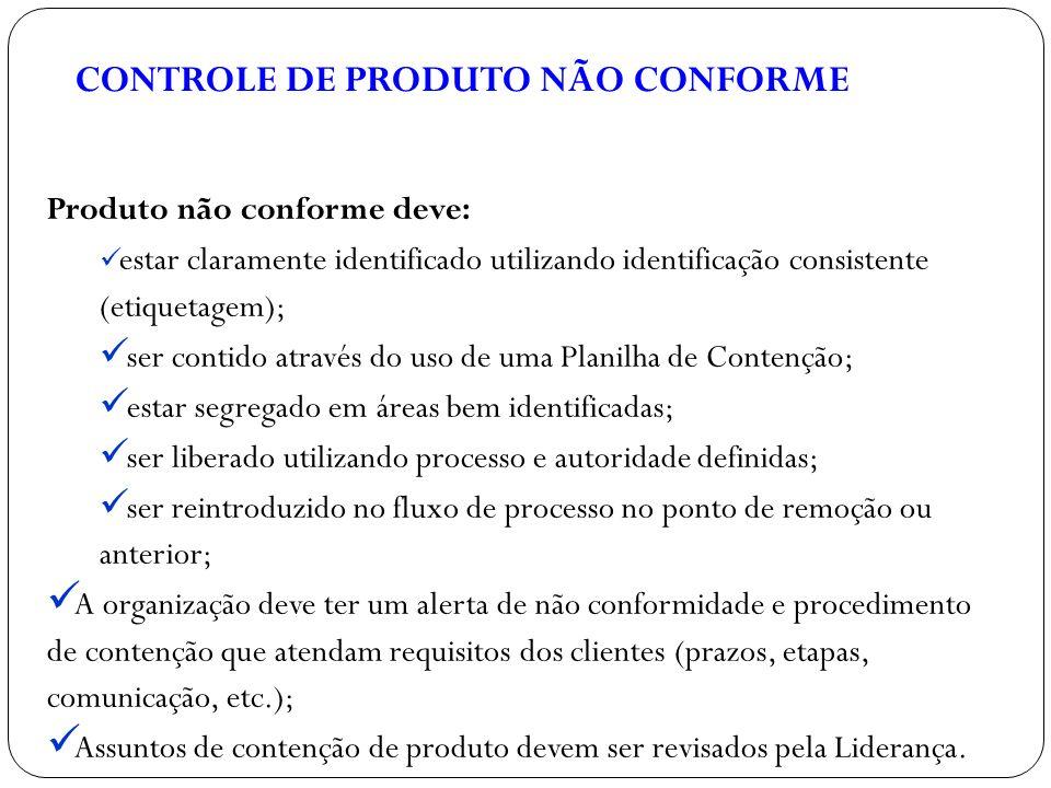 CONTROLE DE PRODUTO NÃO CONFORME Produto não conforme deve: estar claramente identificado utilizando identificação consistente (etiquetagem); ser cont