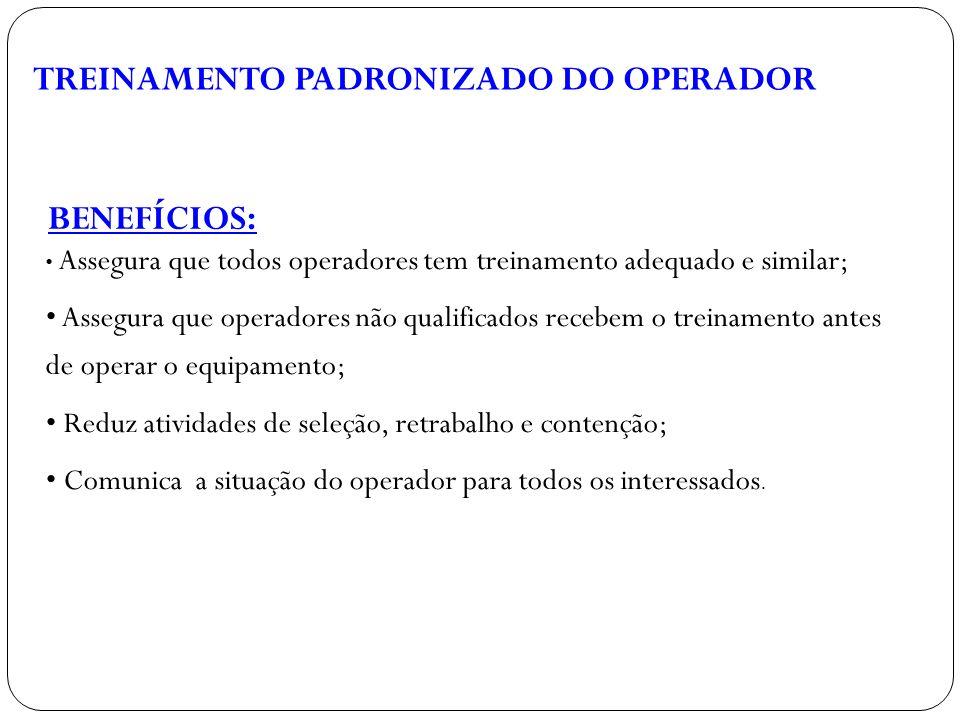 TREINAMENTO PADRONIZADO DO OPERADOR BENEFÍCIOS: Assegura que todos operadores tem treinamento adequado e similar; Assegura que operadores não qualific