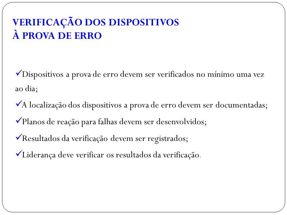 Dispositivos a prova de erro devem ser verificados no mínimo uma vez ao dia; A localização dos dispositivos a prova de erro devem ser documentadas; Pl